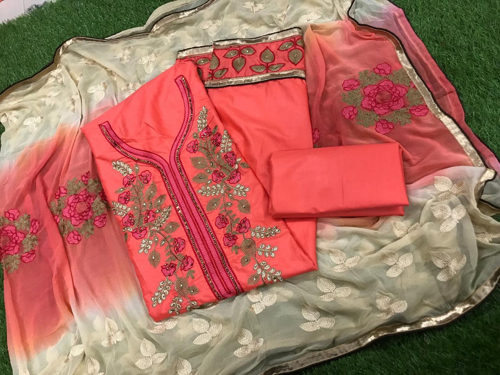 Unbelievable Pink and Off White Embroidery work Salwar suit