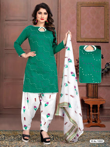 Excellent Green And White Heavy Satin With Standard Embroidery Salwar Suit