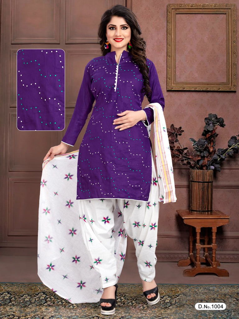 Amazing Purple And White Heavy Satin With Standard Embroidery Salwar Suit