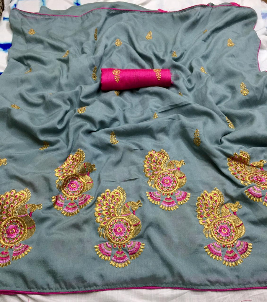 Preferable Grey Vichitra Silk Embroidery Work With Piping Border Designer Saree
