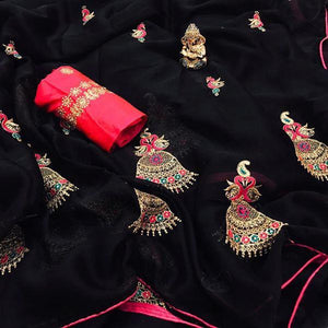 lovely Black Colored Moss Chiffon with full Embrodery Work Saree