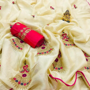 Nice Looking Cream Colored Moss Chiffon with beautiful Full Embrodery Work Saree