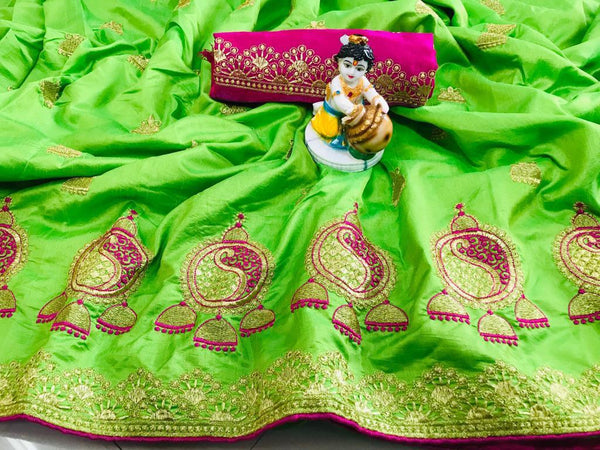 Fabulous Parrot Green Designer Sana Silk With Piping Border Embroidered Work Saree