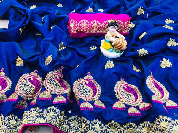 Fabulous Blue Designer Sana Silk With Piping Border Embroidered Work Saree