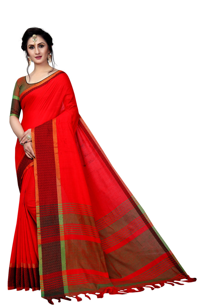 Ravishing Red Pure Linen Designer Saree