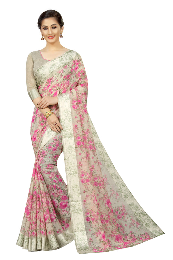 Sensational Grey Printed Pure Linen Designer Saree