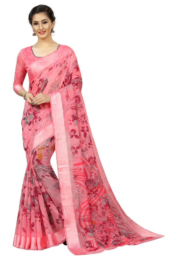 Beautiful Pink Colored Pure Linen Party Wear Printed  Saree
