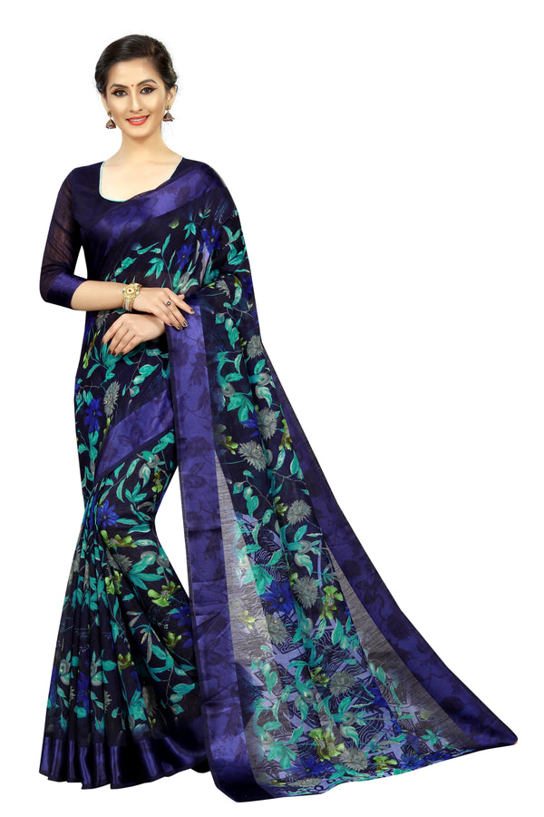 Elegant Navy Blue Colored Festive Wear Printed Pure Linen Designer Saree