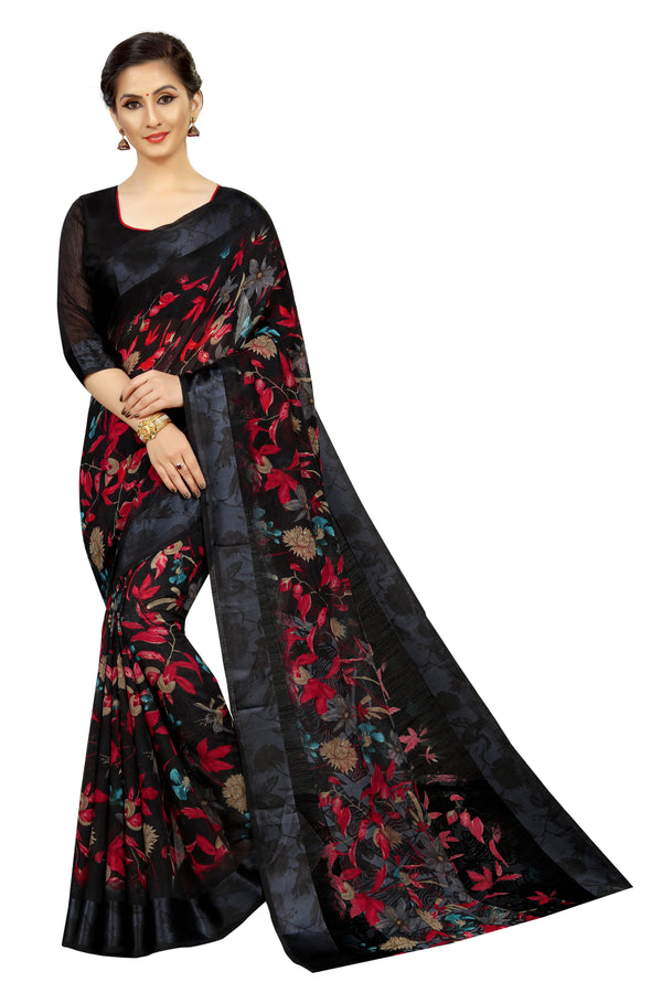 Majesty  Black Colored Festive Wear Printed Pure Linen Designer Saree