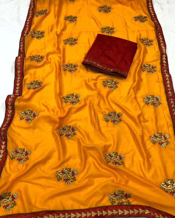 Glowing Mustard Vichitra Silk Embroidery work with Contrast Lace And Double piping Border Saree