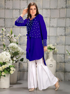 Opulent  Blue And White Designer Pearl Work Georgette Top pure cotton reyon Gharara Pants.