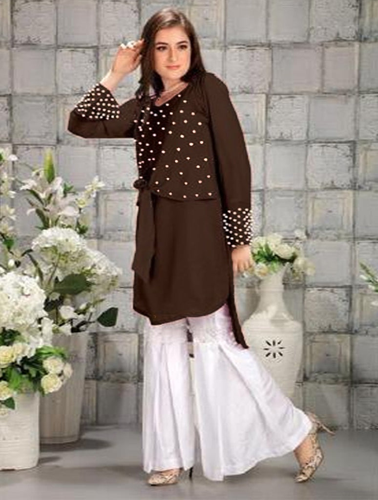 Stylish Brown And White Designer Pearl Work Georgette Kurti with pure cotton reyon Gharara Pants.