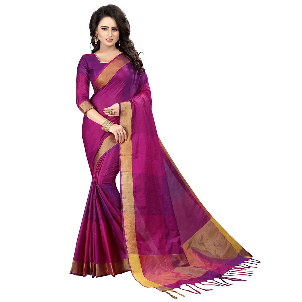 Magenta Cotton Silk Designer Saree