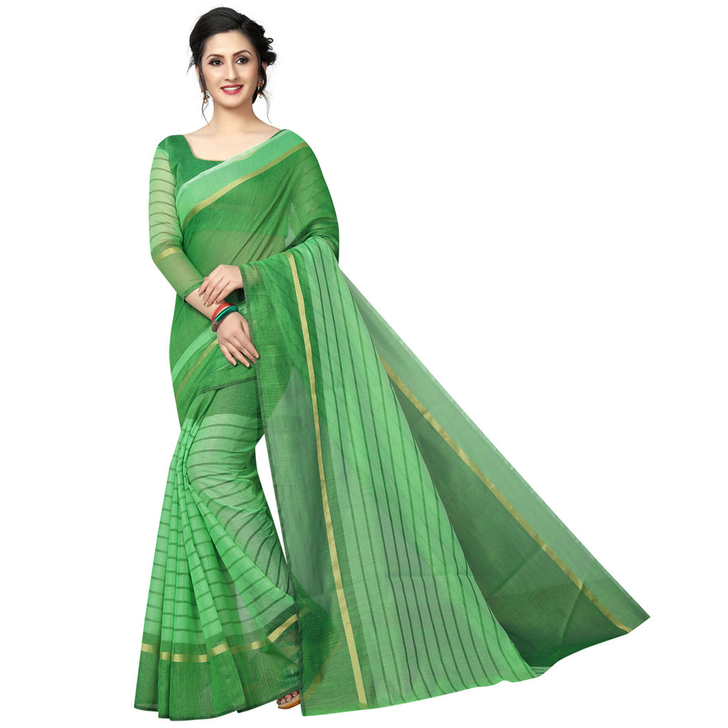 Blooming Green Cotton Silk Designer Saree