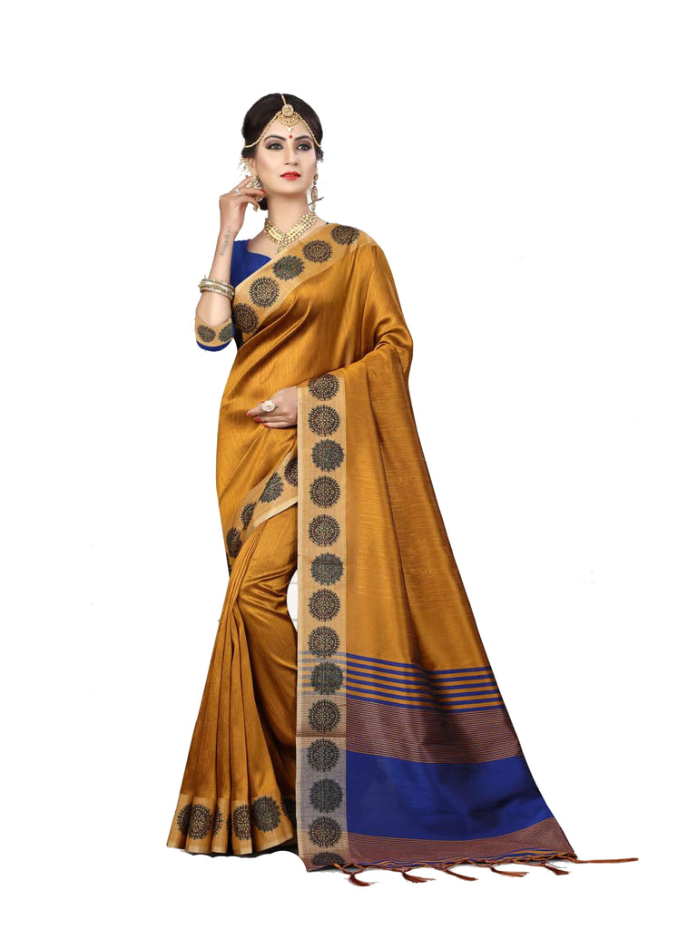 Spectacular Dark Yellow Designer Lily Silk zari Border Saree