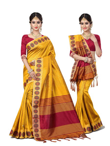 Trendy Yellow Designer Lily Silk Zari Border Saree
