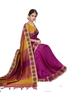 Exotic Dark Yellow And Rani Pink Designer Lily Silk Zari Border Saree