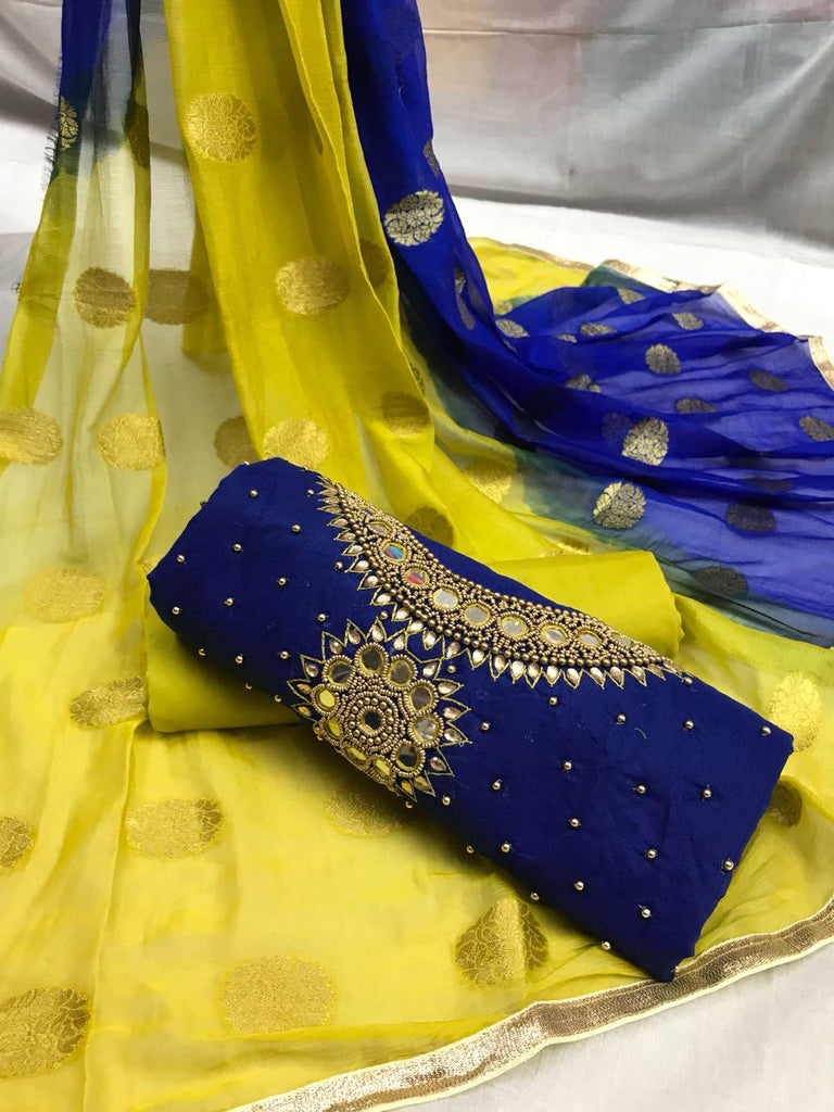 Arresting Yellow and Blue Embroidery work Salwar suit