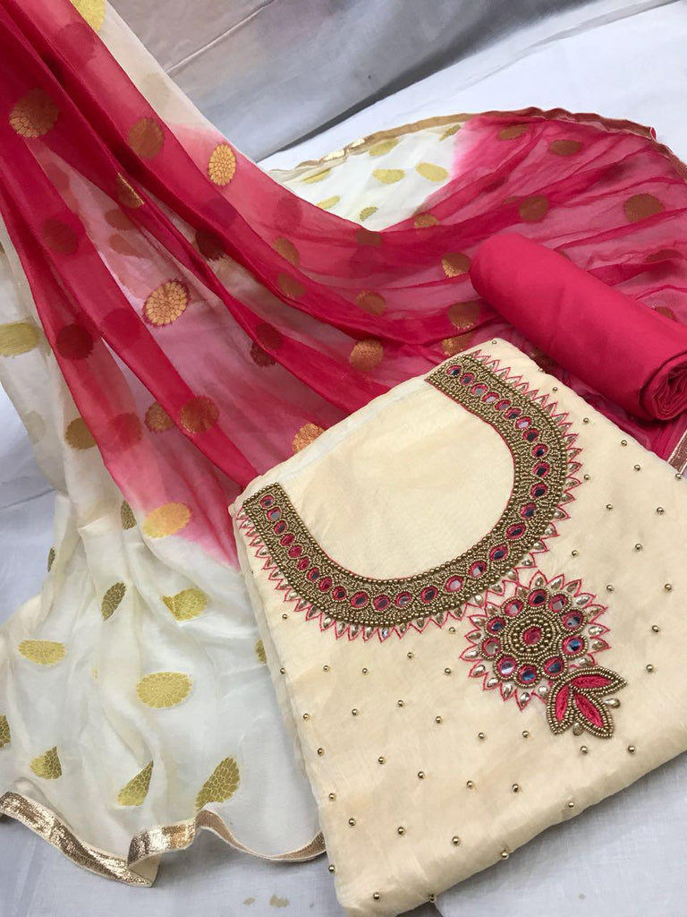 Alluring Cream and Red Embroidery work Salwar suit
