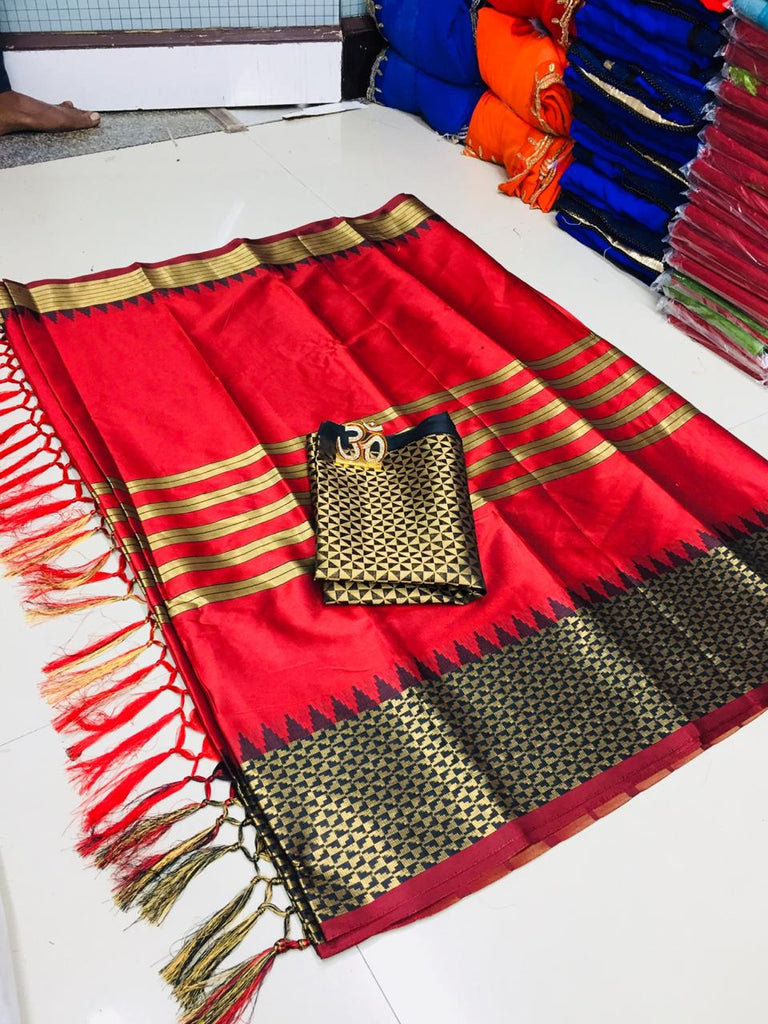 Hypnotic Red Silk Designer Saree