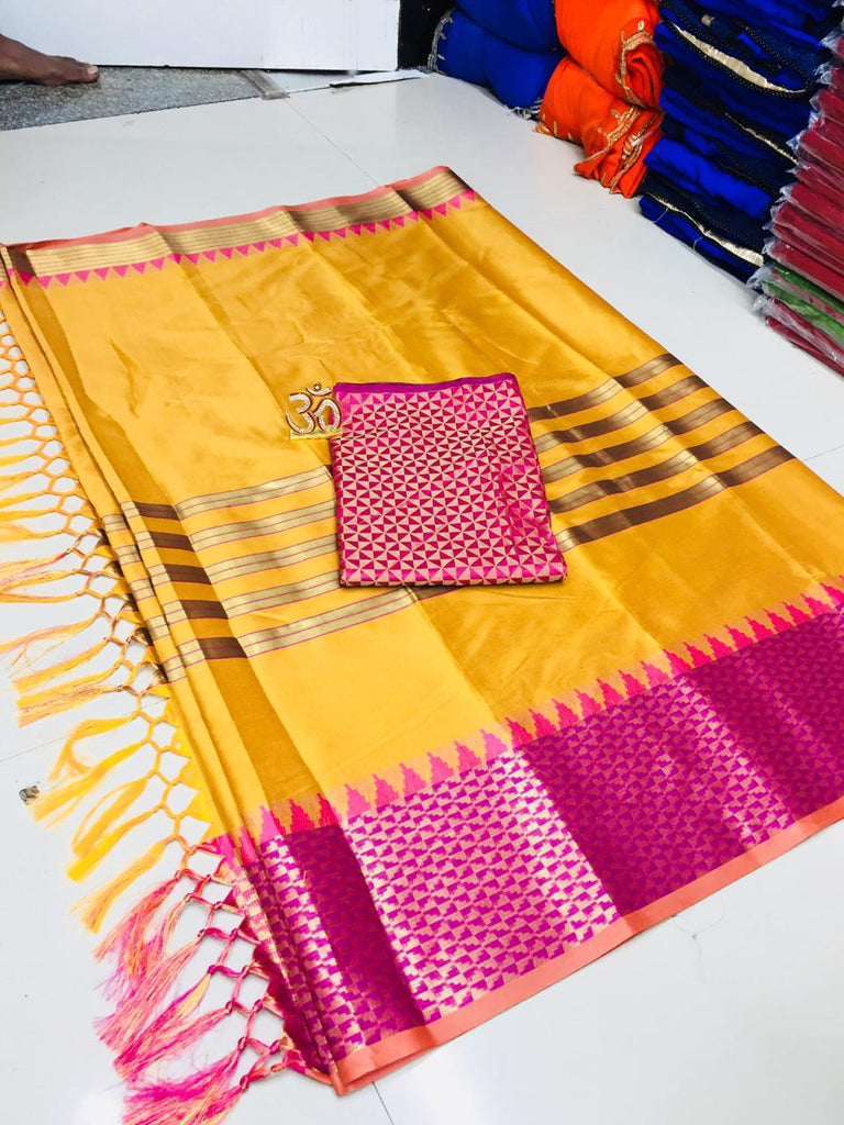 Breathtaking Yellow Silk Designer Saree