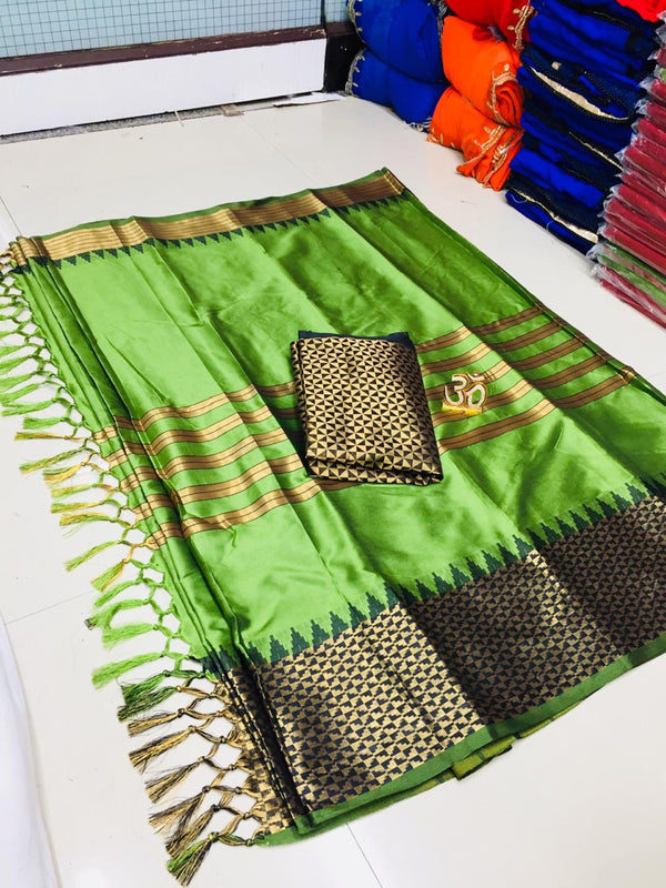 Fairy-tale Green Silk Designer Saree
