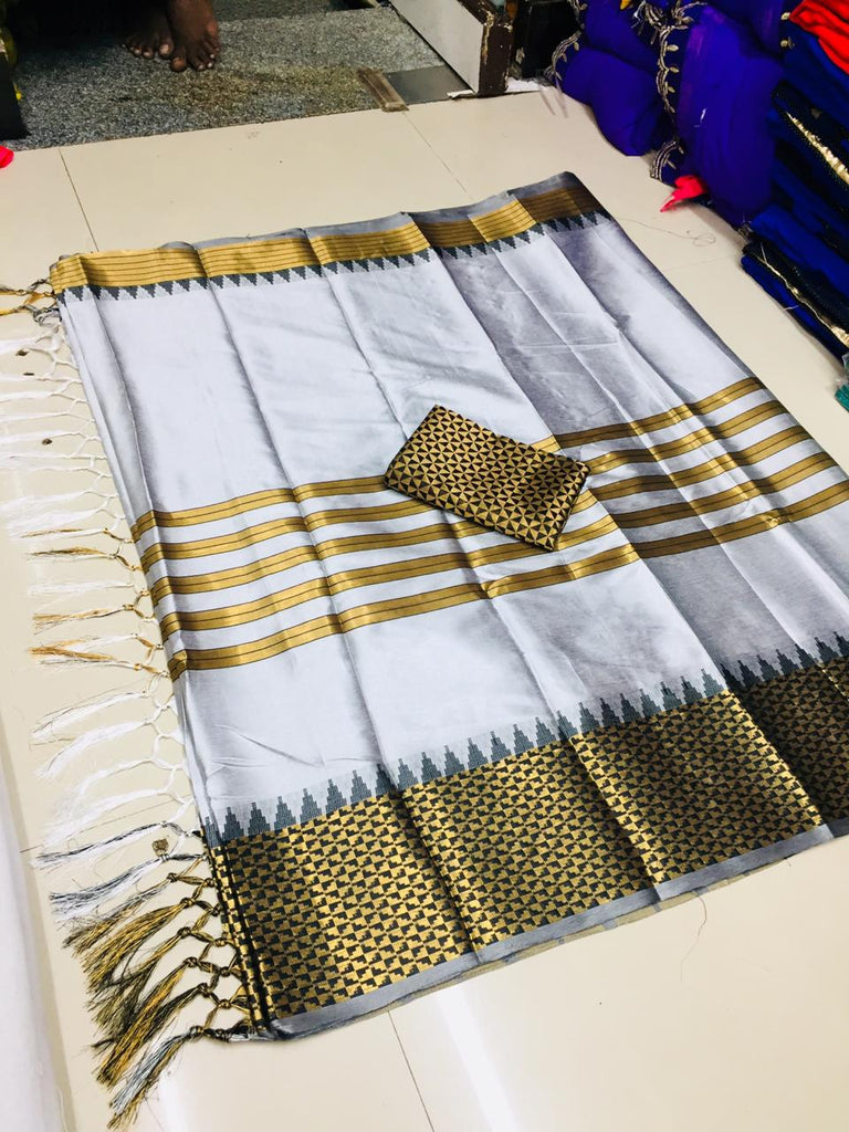 Radiant Grey Silk Designer Saree