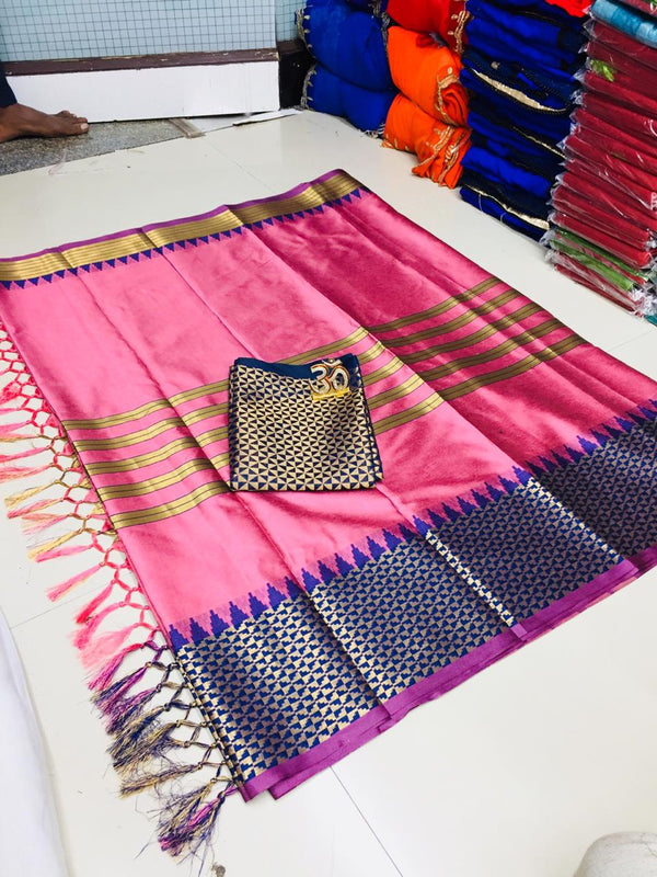 Hot Pink Silk Designer Saree