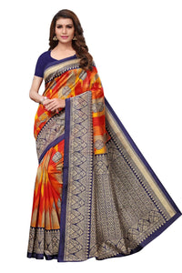 Hypothetical Orange & Blue Saanvika Art Silk Designer Saree