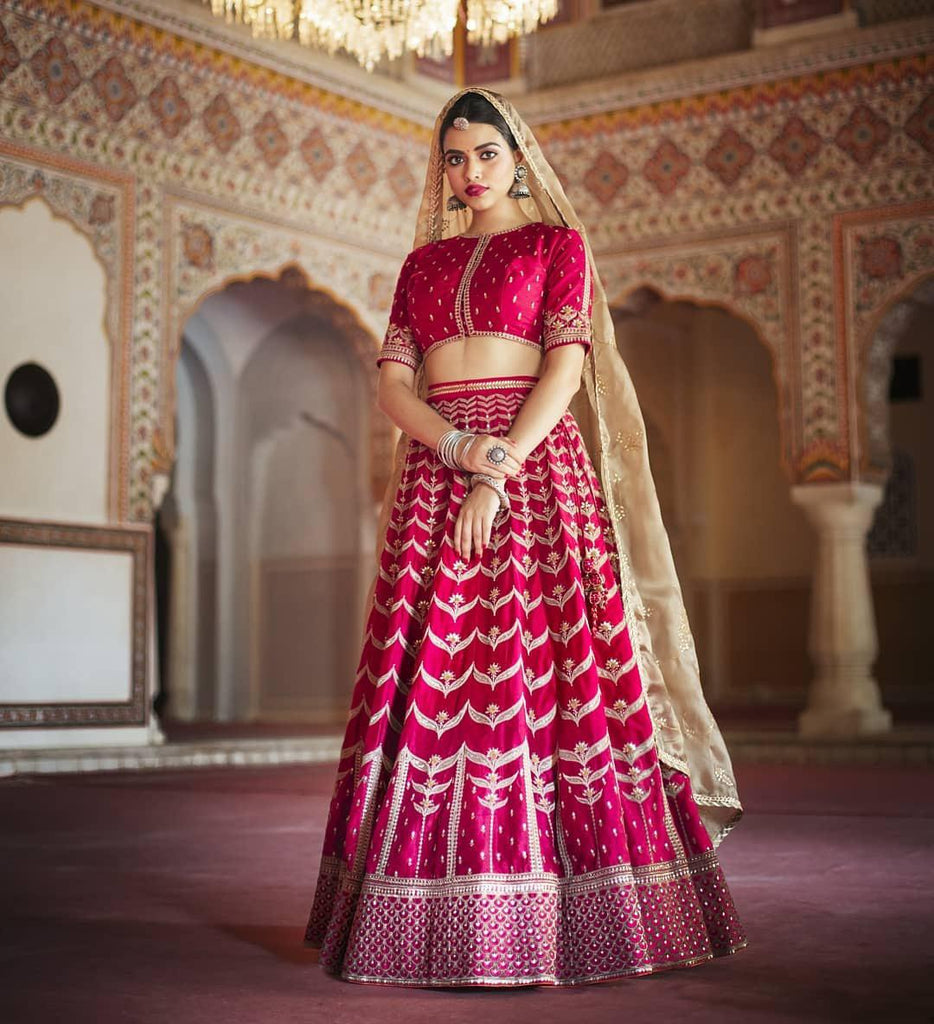Lotus Pink Petan Silk Designer Bridal Lehenga Wedding Wear