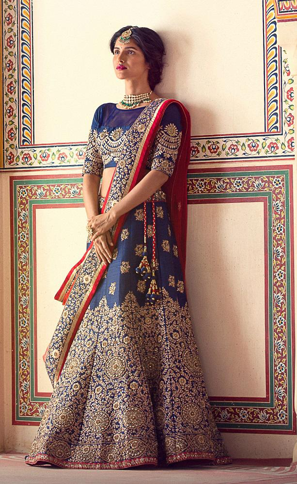 Royal Blue Jarman Silk Designer Bridal Lehenga Wedding Wear