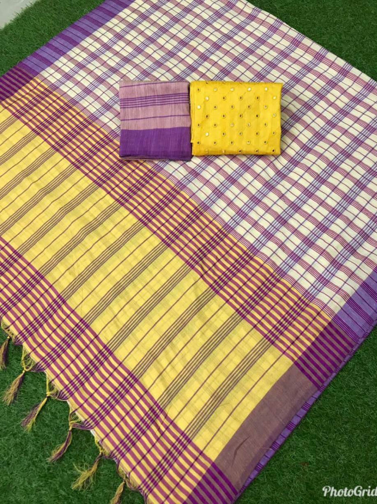 Radiant Purple And Yellow Color Linen Silk Designer Saree