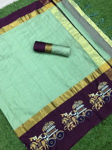 Eye Catching Rama Color Aangi Cotton Silk Designer Saree