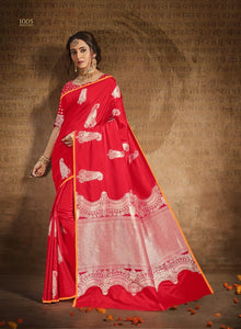 Innovative Red Jacquard  Silk  Designer Saree