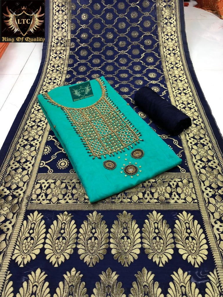 Snazzy Light Green And Blue Colored Embroidered Modal Modal Chanderi Cotton With Khatli Hand Work Dress Material