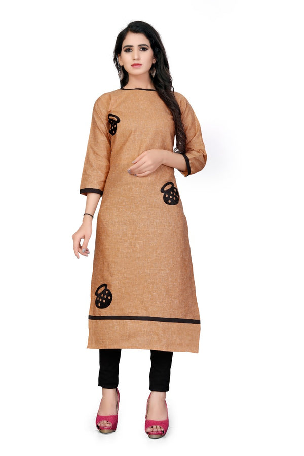Trendy Brown Colored Embroidered Cotton Khadi Kurti