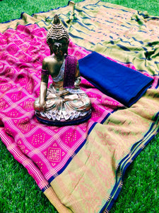 Beautiful Pink Colored Pasmina Silk Printed Saree
