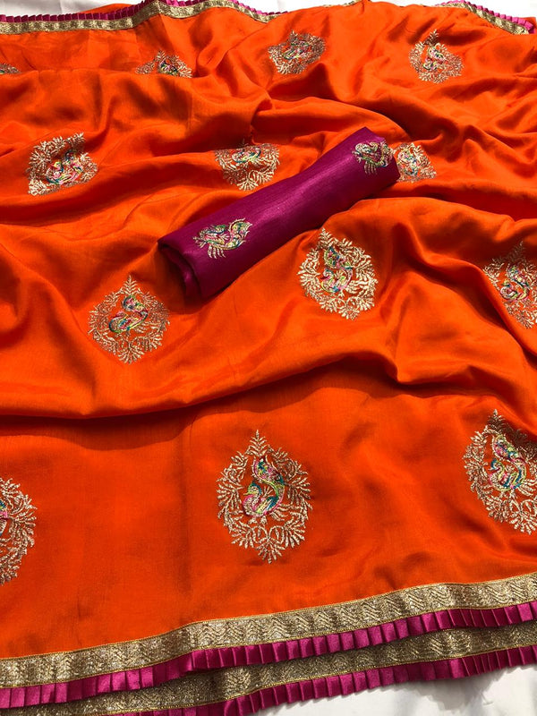 Elegant Orange Colour Silk Saree with Embroidered Work For Women