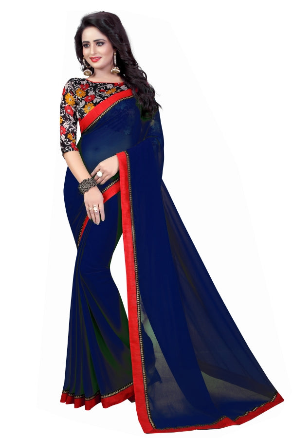Trendy Georgatte Cotton Print Printed Less Saree