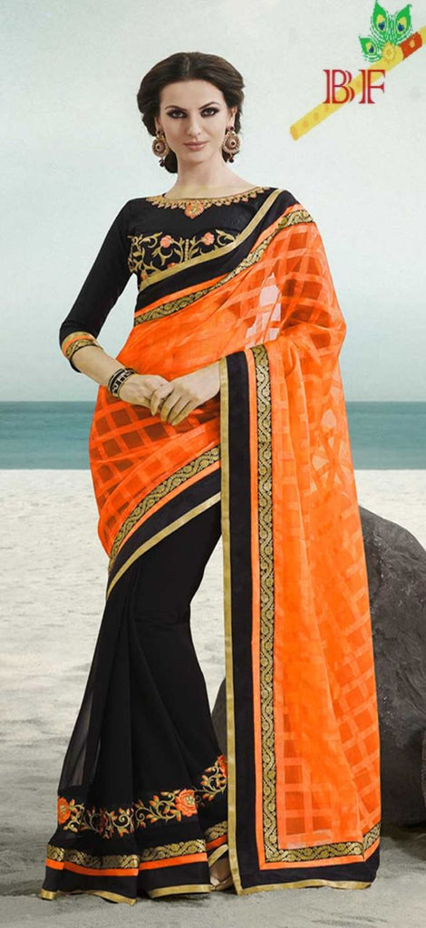 Classy  Cottan & Georgatte Cotton Silk  With Work Emrodery Less Orange Saree