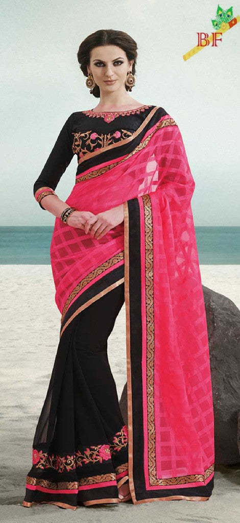 Stunning Cottan & Georgatte Cotton Silk  With Work Emrodery Less Pink Saree
