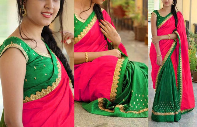 Impressive Georgatte Benglori Silk With Work Embroidery Less Saree