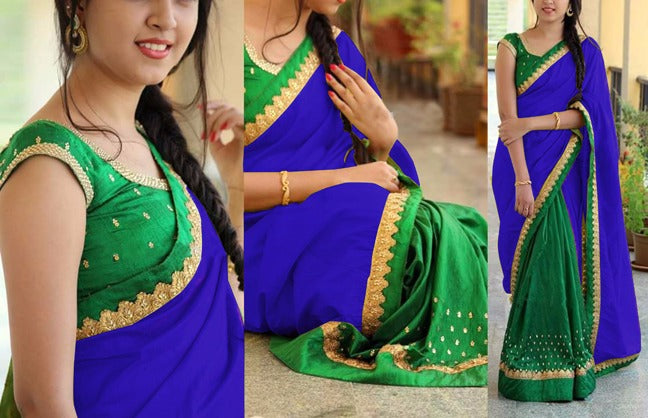 Energetic Georgette Benglori Silk With Work Embroidery Less Saree