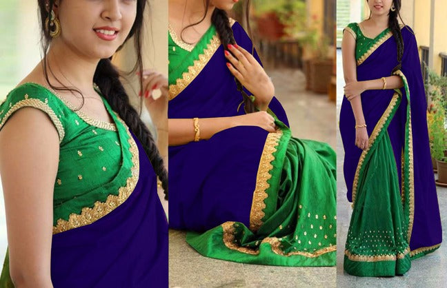 Precious Georgatte  Benglori Silk With Work Embroidery Less Saree
