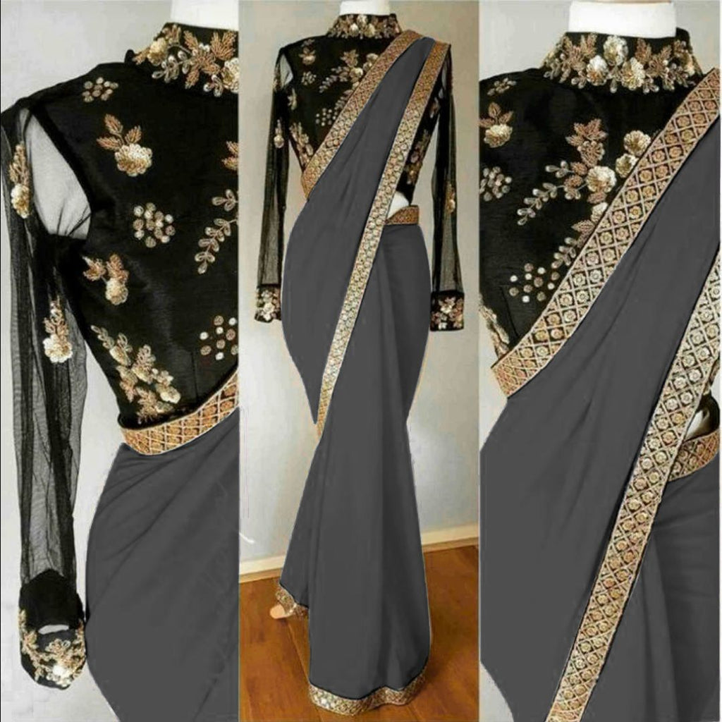 Elegant Georgette Cotton & Net With Embroidery Work Saree