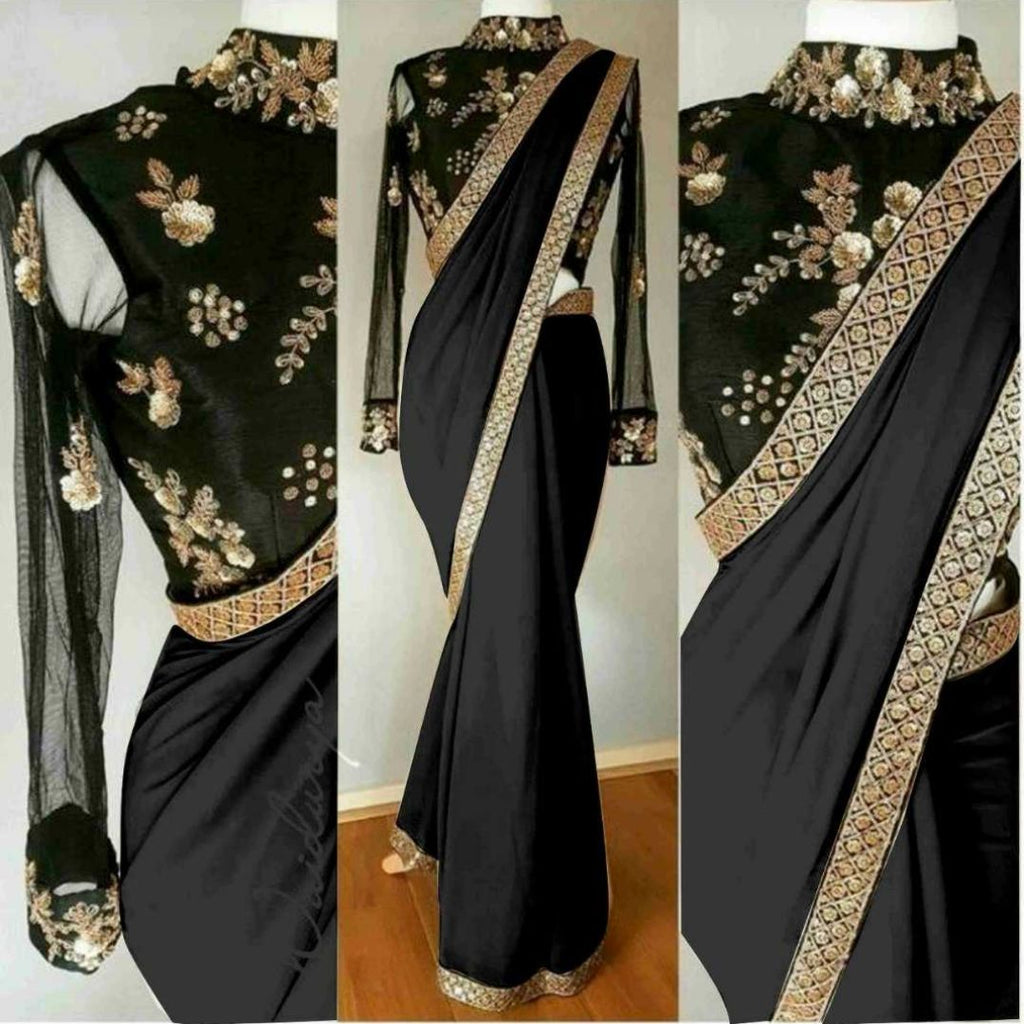 Fantastic  Georgette Cotton & Net With Embroidery Work Saree