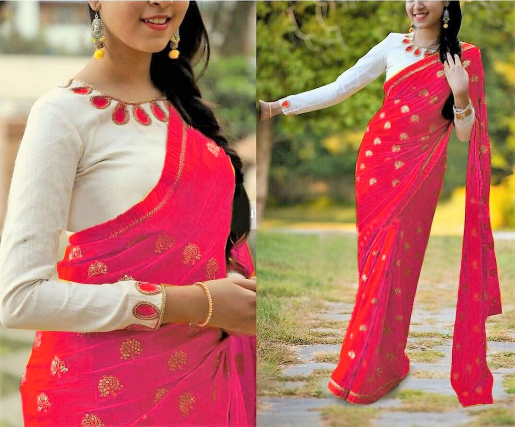 Adorable Georgatte Benglori Silk With Embroidery Work Saree