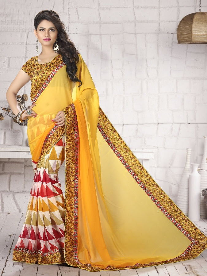 Wightless Sheded & Wightless Print Silk Print Printed Less Saree