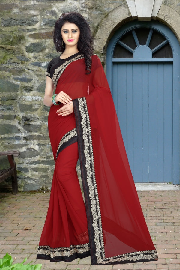 Dazzling  Georgatte Cotton Silk Emrodery Less Saree