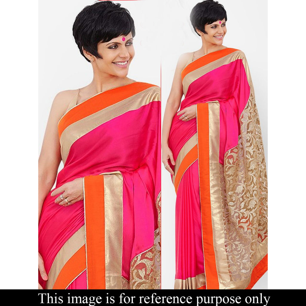 Unutterable Pink Georgette Embroidery Work saree